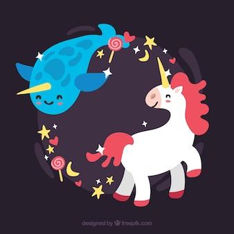 Fondo de animal marino y unicornio