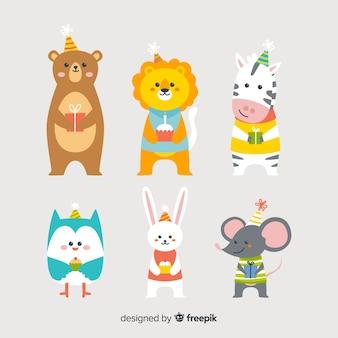 Fondo de animales adorables en cumpleaños