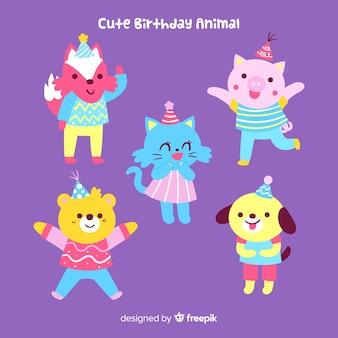 Fondo de animales adorables de cumpleaños