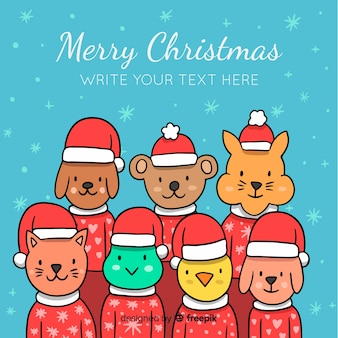 Fondo de animales adorables en navidad