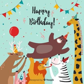 Fondo de animales de cumpleaños dibujado a mano