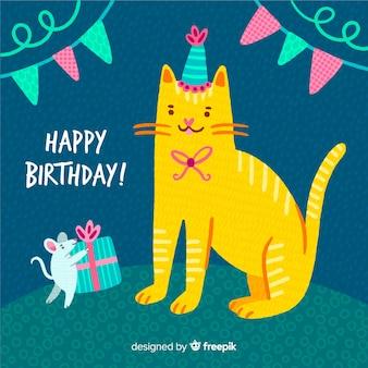 Fondo de animales en cumpleaños dibujado a mano