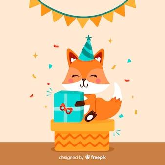 Fondo de animales de cumpleaños en diseño plano