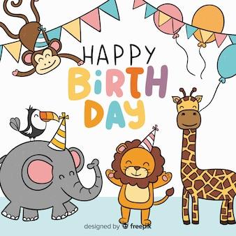 Fondo de animales en cumpleaños en diseño plano
