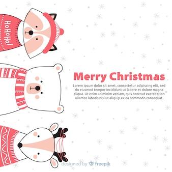 Fondo de animales en navidad