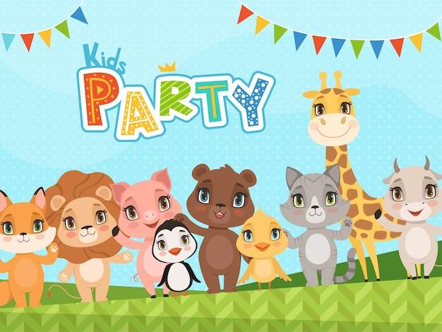 Fondo de animales de la selva. cartel de celebración o etiquetas de baby shower con imágenes de lindos animalitos salvajes