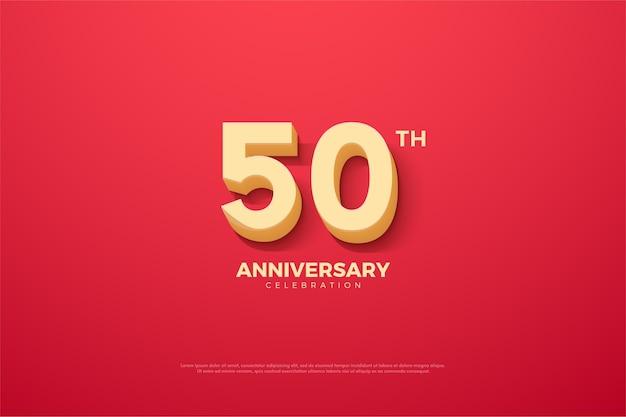El fondo del aniversario es rojo con números tridimensionales elevados.