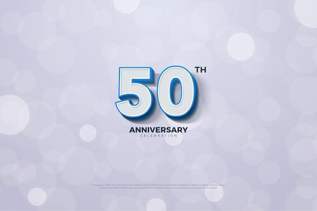 Fondo de aniversario con números y una línea azul en el borde del número