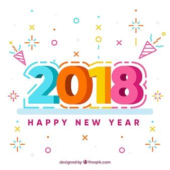 Fondo de año nuevo 2018 en diseño plano