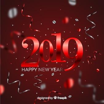 Fondo año nuevo 2019 con confeti