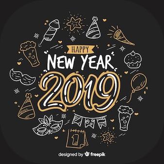 Fondo año nuevo 2019 dibujado a mano