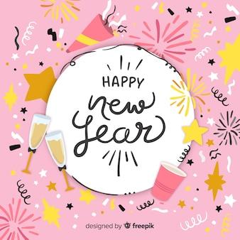 Fondo de año nuevo 2019 dibujado a mano