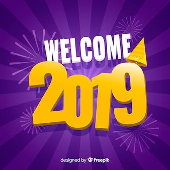 Fondo de año nuevo 2019 en diseño plano