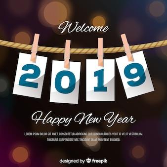 Fondo año nuevo 2019 en diseño plano