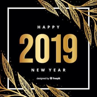 Fondo de año nuevo 2019 dorado