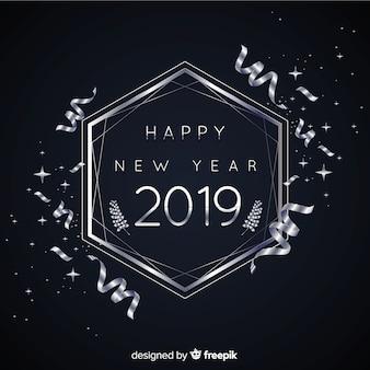 Fondo año nuevo 2019 plateado
