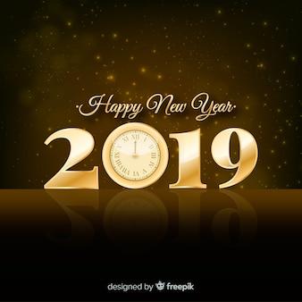 Fondo de año nuevo 2019 plateado