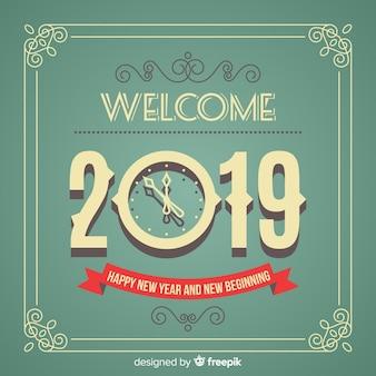 Fondo de año nuevo 2019 vintage