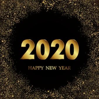 Fondo de año nuevo 2020 con confeti de oro brillo