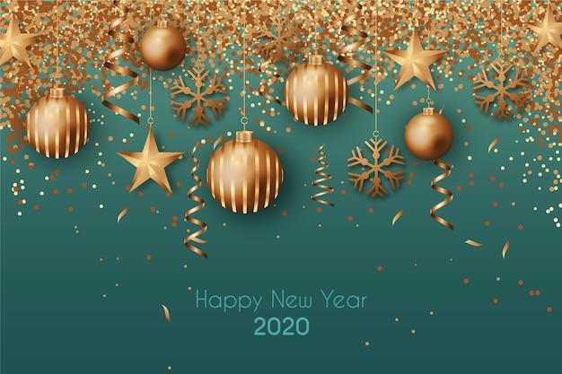 Fondo de año nuevo 2020 con decoración dorada realista