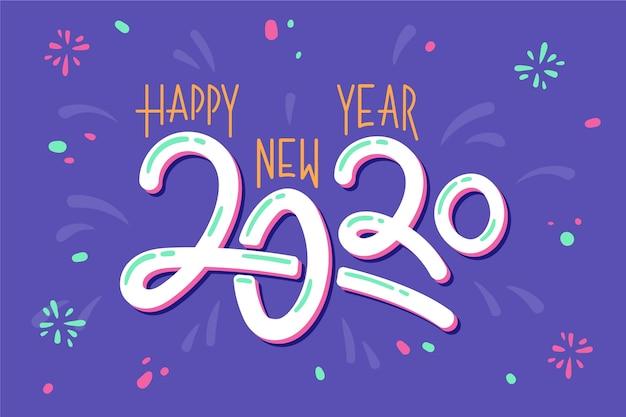 Fondo de año nuevo 2020 dibujado a mano