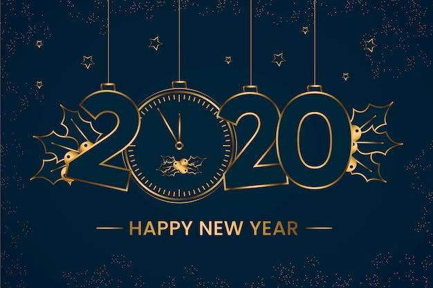 Fondo de año nuevo 2020 en diseño de estilo de contorno