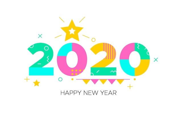 Fondo de año nuevo 2020 en diseño plano