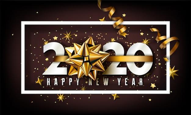 Fondo de año nuevo 2020 con elementos dorados