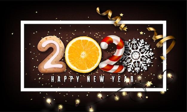 Fondo de año nuevo 2020 con elementos de navidad