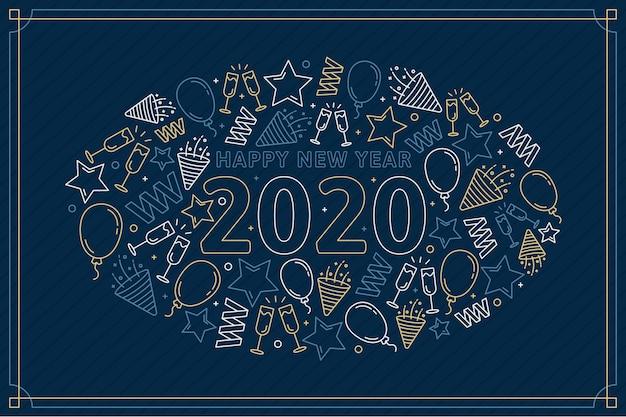 Fondo de año nuevo 2020 en estilo de contorno