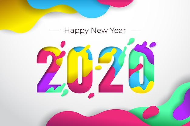 Fondo de año nuevo 2020 en estilo de papel