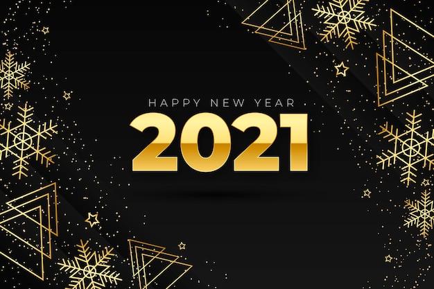 Fondo de año nuevo 2021 con decoración dorada realista
