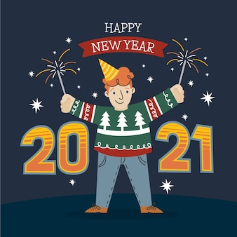 Fondo año nuevo 2021 dibujado a mano
