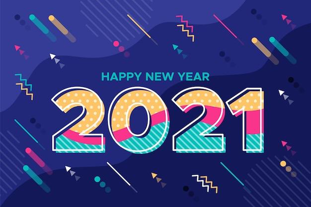 Fondo año nuevo 2021 en diseño plano