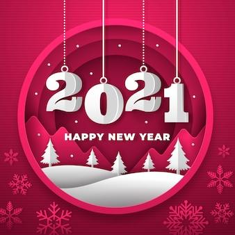 Fondo de año nuevo 2021 en estilo papel con árboles