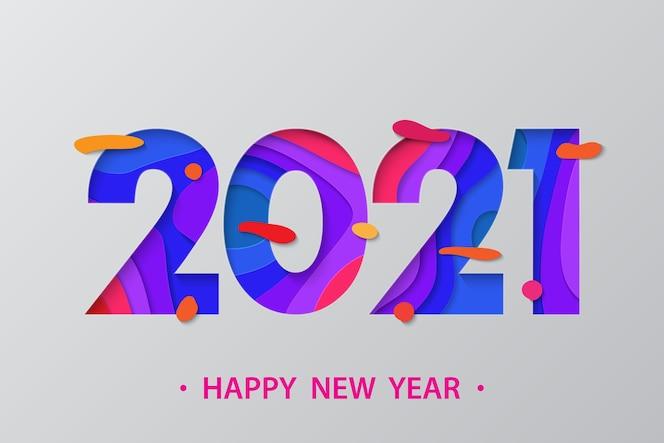 Fondo de año nuevo 2021 en estilo de papel cortado.