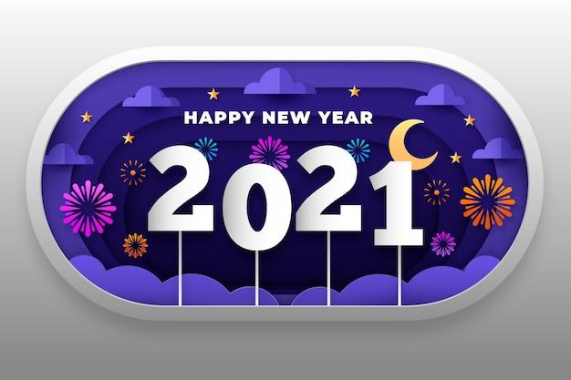 Fondo de año nuevo 2021 en estilo papel