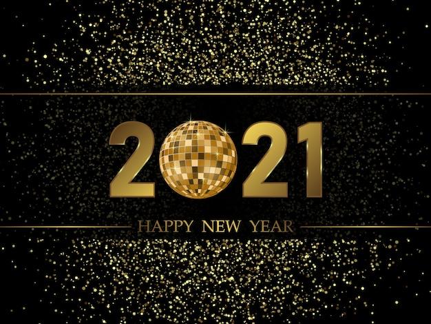 Fondo de año nuevo 2021 con números de oro.