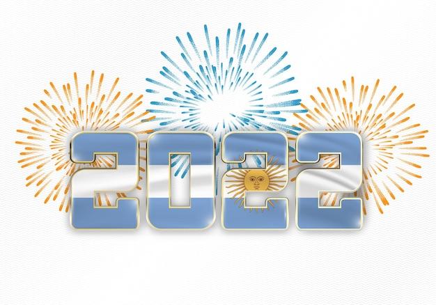 Fondo de año nuevo 2022 con bandera nacional de argentina y fuegos artificiales