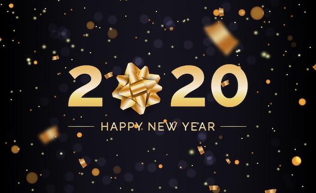 Fondo de año nuevo con arco de regalo dorado