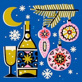 Fondo de año nuevo con bolas de navidad y champagne