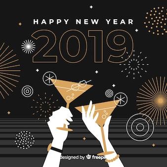 Fondo año nuevo brindis