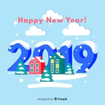 Fondo año nuevo casas isométricas