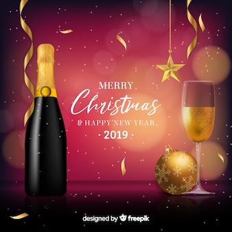 Fondo año nuevo champán realista