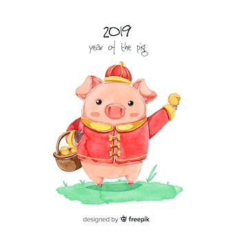 Fondo de año nuevo chino 2019 en acuarela