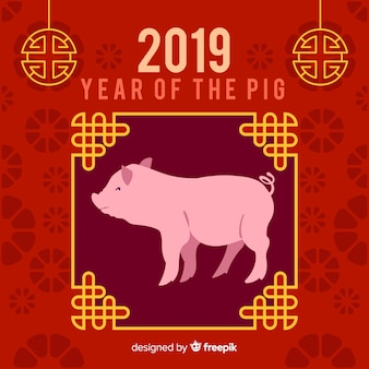 Fondo de año nuevo chino 2019 en diseño plano