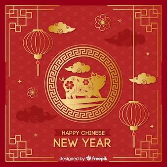 Fondo año nuevo chino dorado