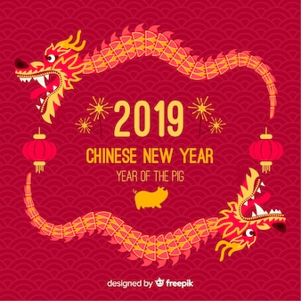 Fondo año nuevo chino dragón