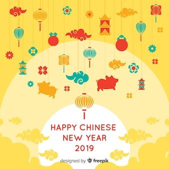 Fondo año nuevo chino elementos pequeños