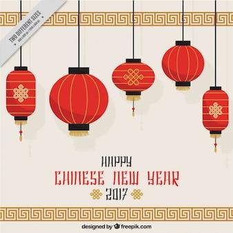 Fondo de año nuevo chino con faroles colgando
